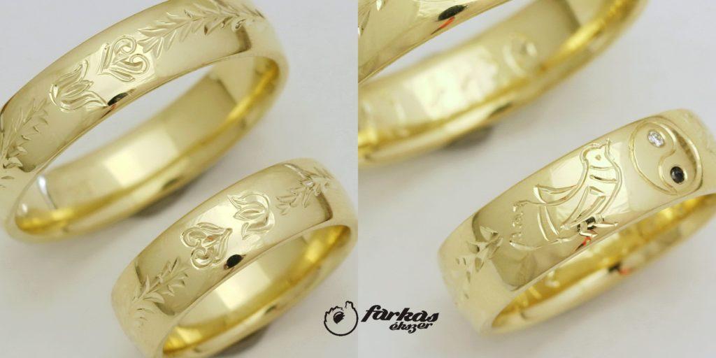 Vésett arany karikagyűrűk, gyémántokkal 122.