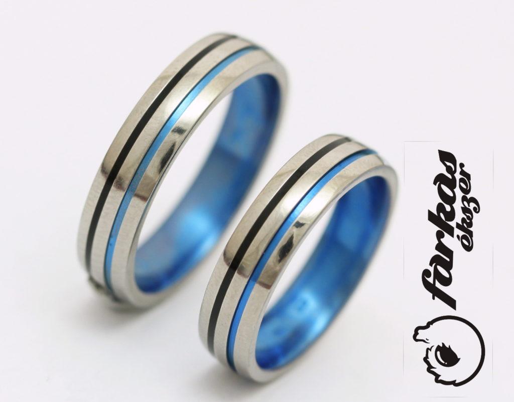 Színesre oxidált titán karikagyűrű, kerámiával és gyémánttal 193.