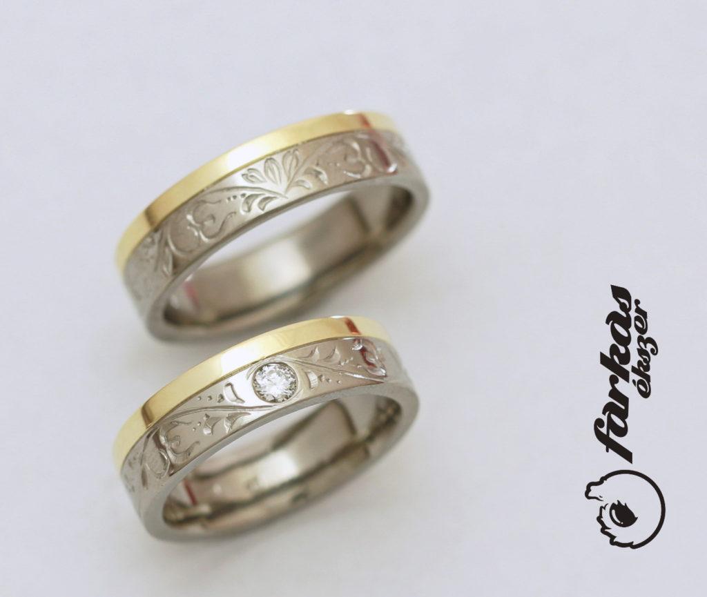Vésett titán - arany karikagyűrűk gyémánttal 230.