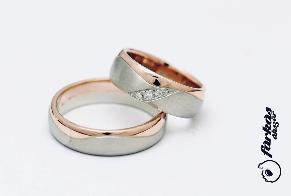 Fehér és vörös arany karikagyűrűk gyémántokkal 134.