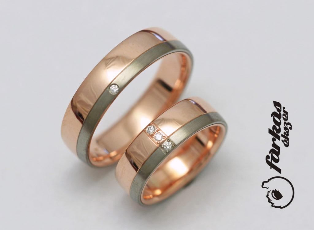 Vörös arany-titán karikagyűrűk gyémántokkal 110.