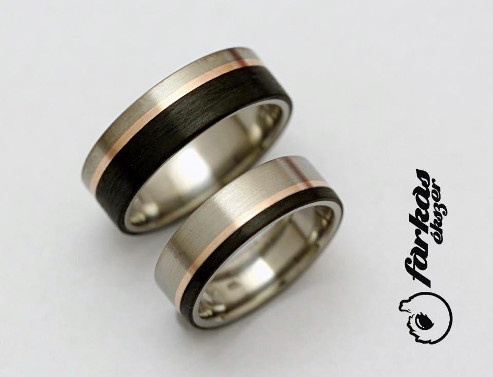 Fekete karbon-vörös arany-titán karikagyűrűk 037.