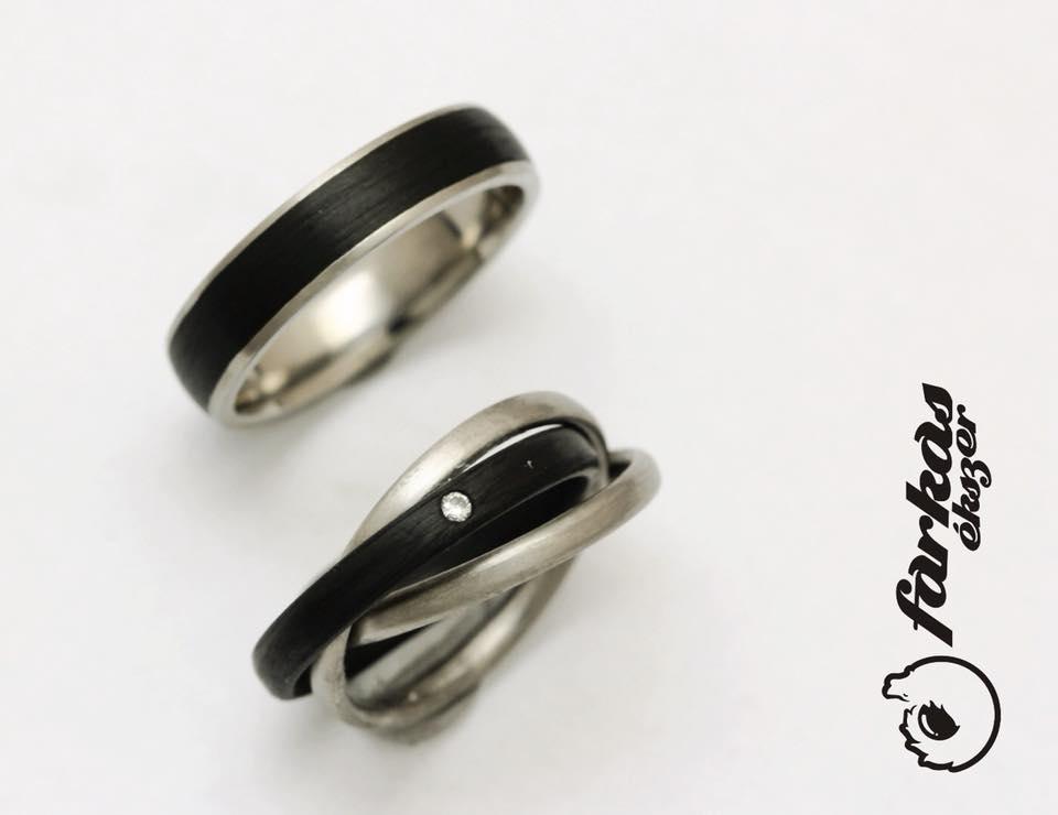Fekete karbon-titán karikagyűrűk gyémánttal 035.