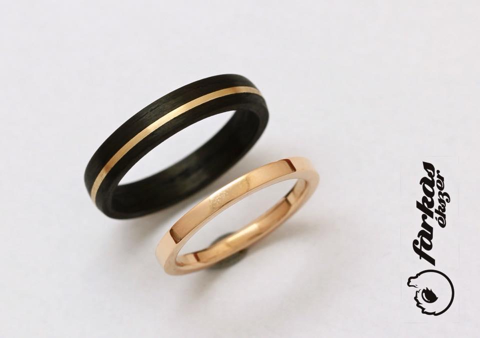 Fekete karbon-vörös arany karikagyűrűk 032.