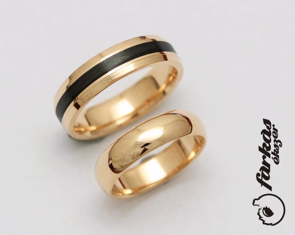 Fekete karbon-vörös arany karikagyűrűk 029.