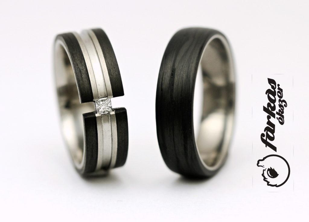 Fekete karbon-titán karikagyűrűk gyémánttal 015.