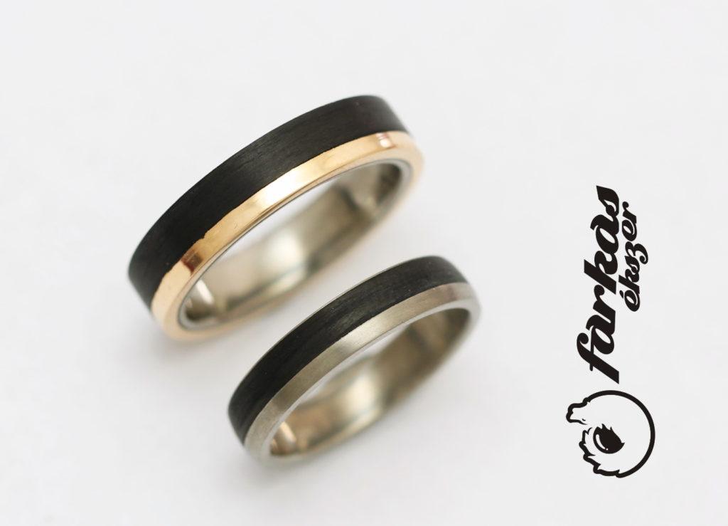 Fekete karbon-vörös arany-titán karikagyűrűk 014.