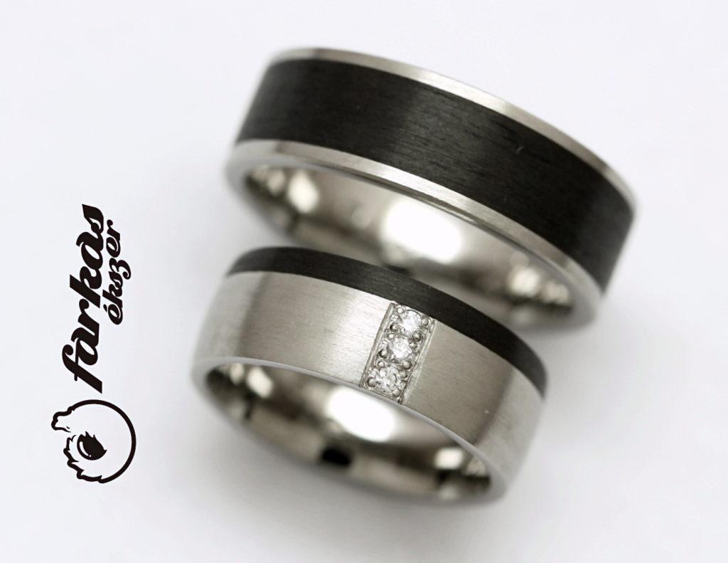 Fekete karbon-titán karikagyűrűk gyémántokkel 009.