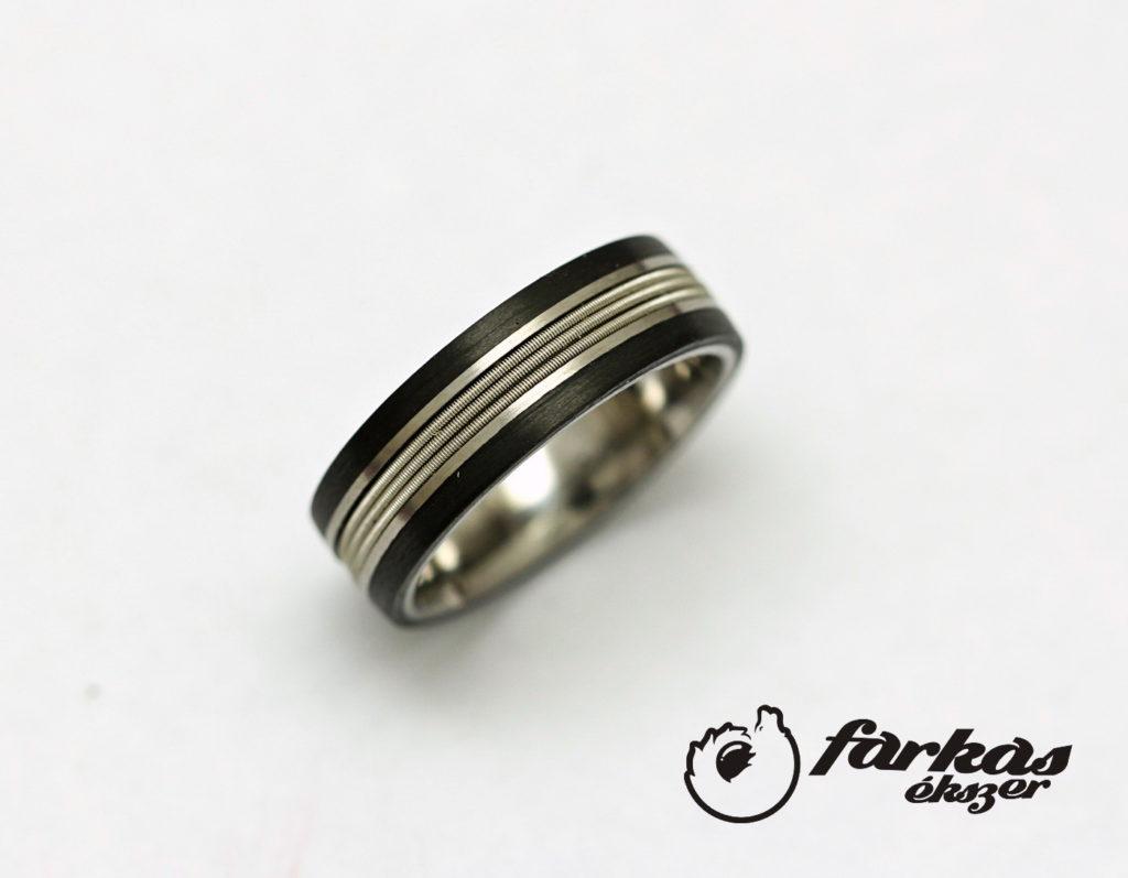 Fekete karbon-titán gyűrű 007.