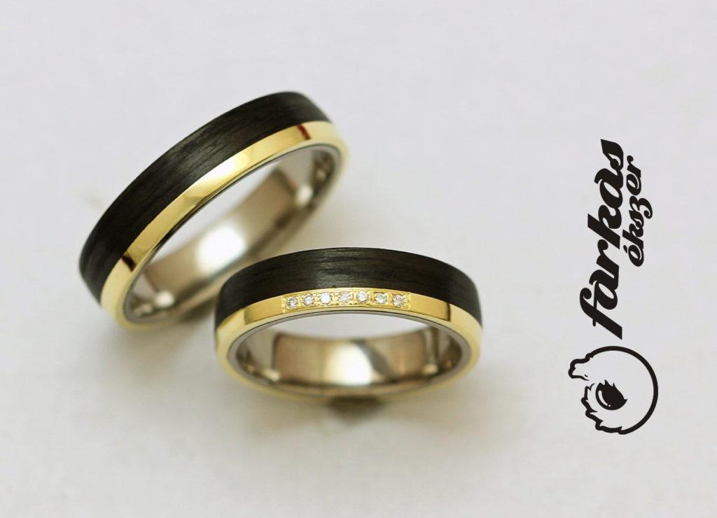 Fekete karbon-sárga arany-titán karikagyűrűk gyémántokkal 016.