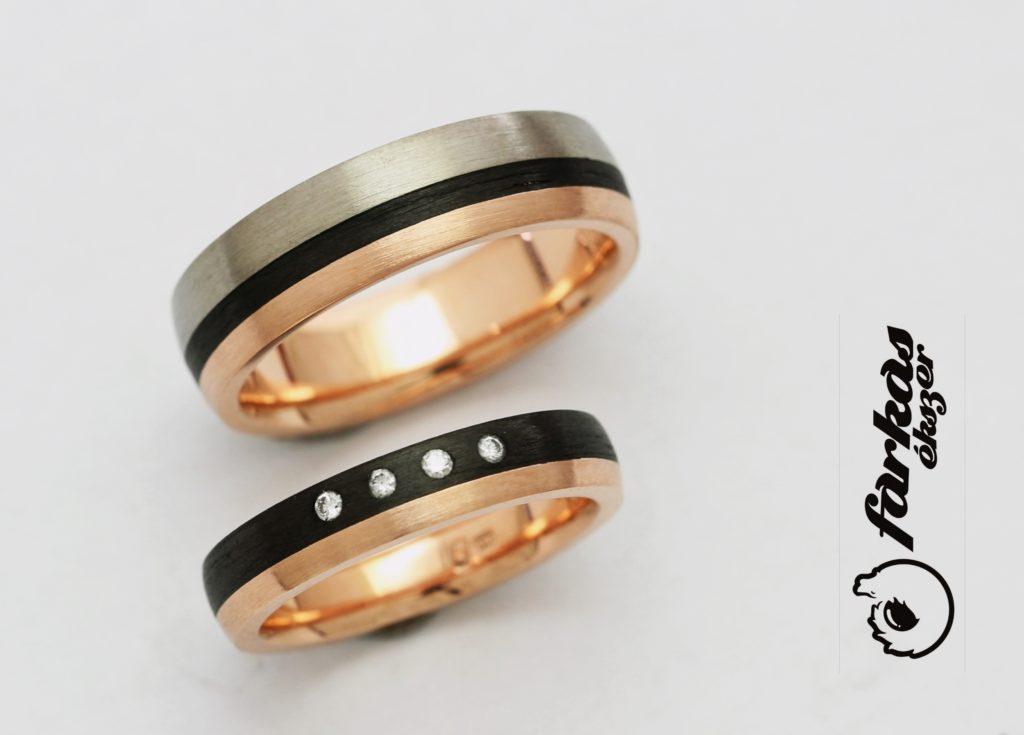 Fekete karbon-vörös arany-titán karikagyűrűk gyémántokkal 034.
