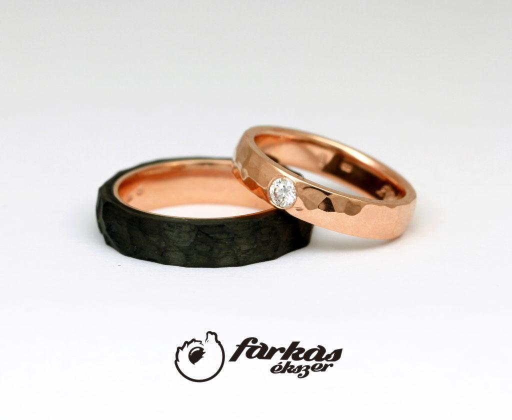 Fekete karbon-vörös arany karikagyűrűk gyémánttal 010.