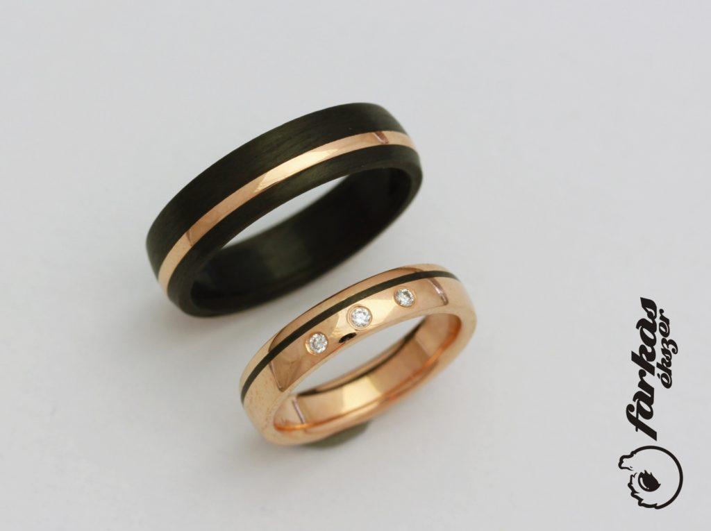 Fekete karbon-vörös arany karikagyűrűk gyémántokkal 008.