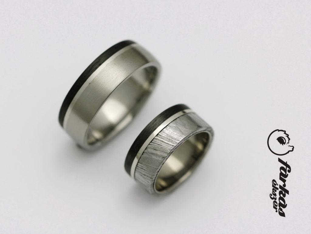 Fekete karbon-damaszkuszi acél-platina-titán karikagyűrűk 001.