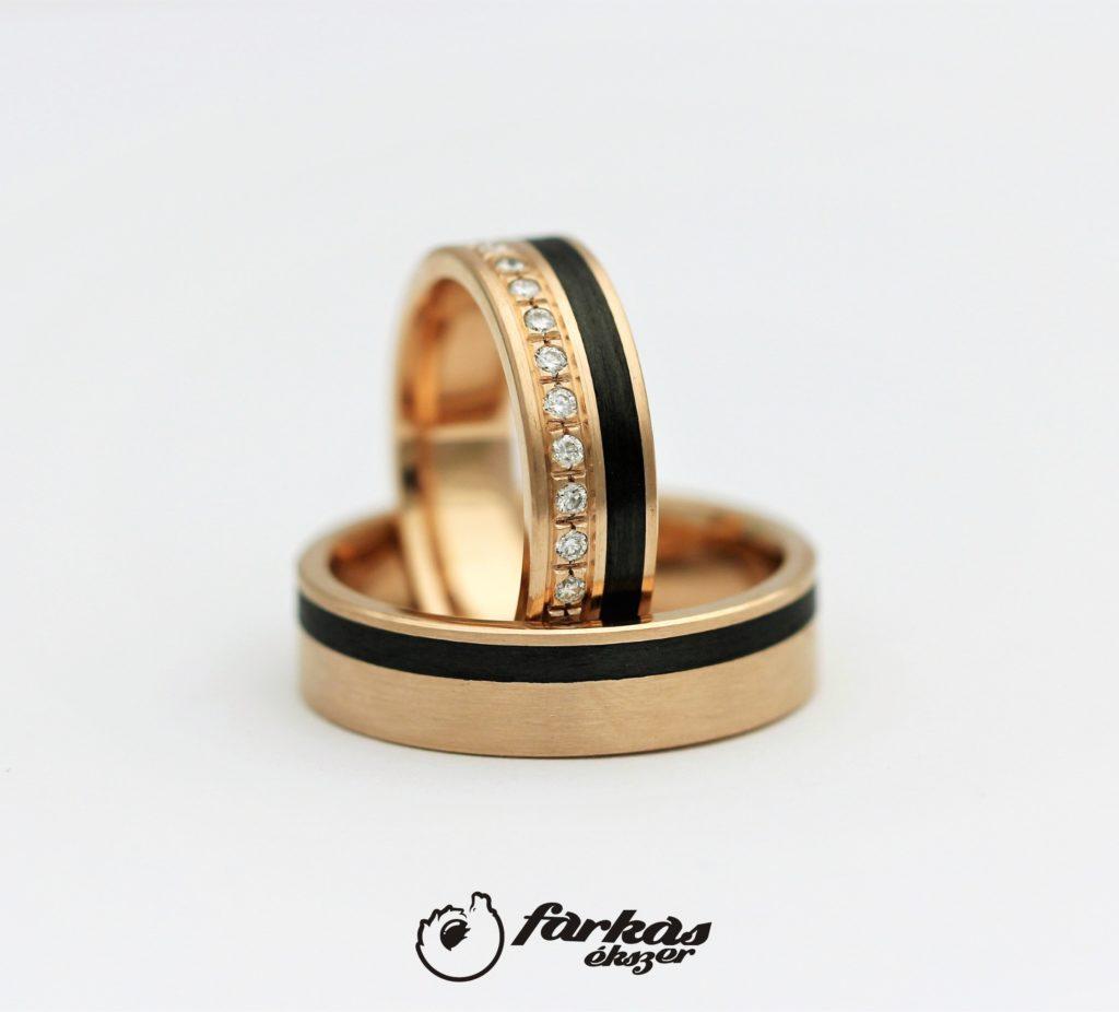 Fekete karbon-vörös arany karikagyűrűk gyémántokkal 040.