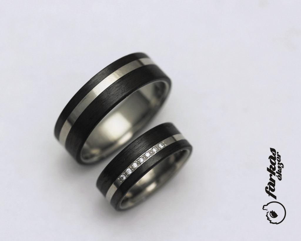 Fekete karbon-titán karikagyűrűk gyémántokkal 041.