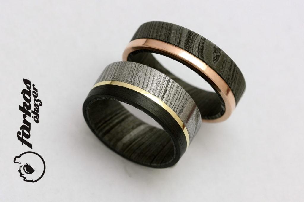 Fekete karbon-damaszkuszi acél- vörös arany karikagyűrűk 024.