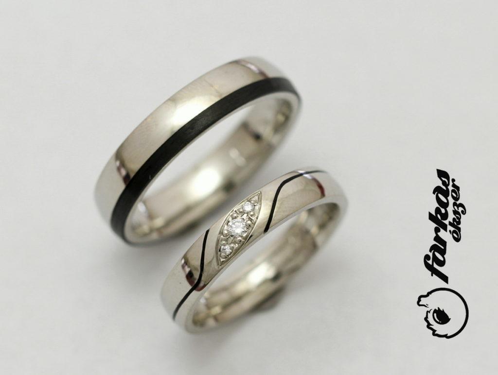 Palládium-fekete karbon karikagyűrűk gyémántokkal 025.