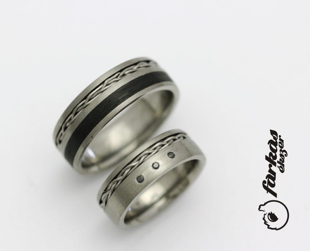Fekete karbon-titán karikagyűrűk fekete gyémántokkal 042.