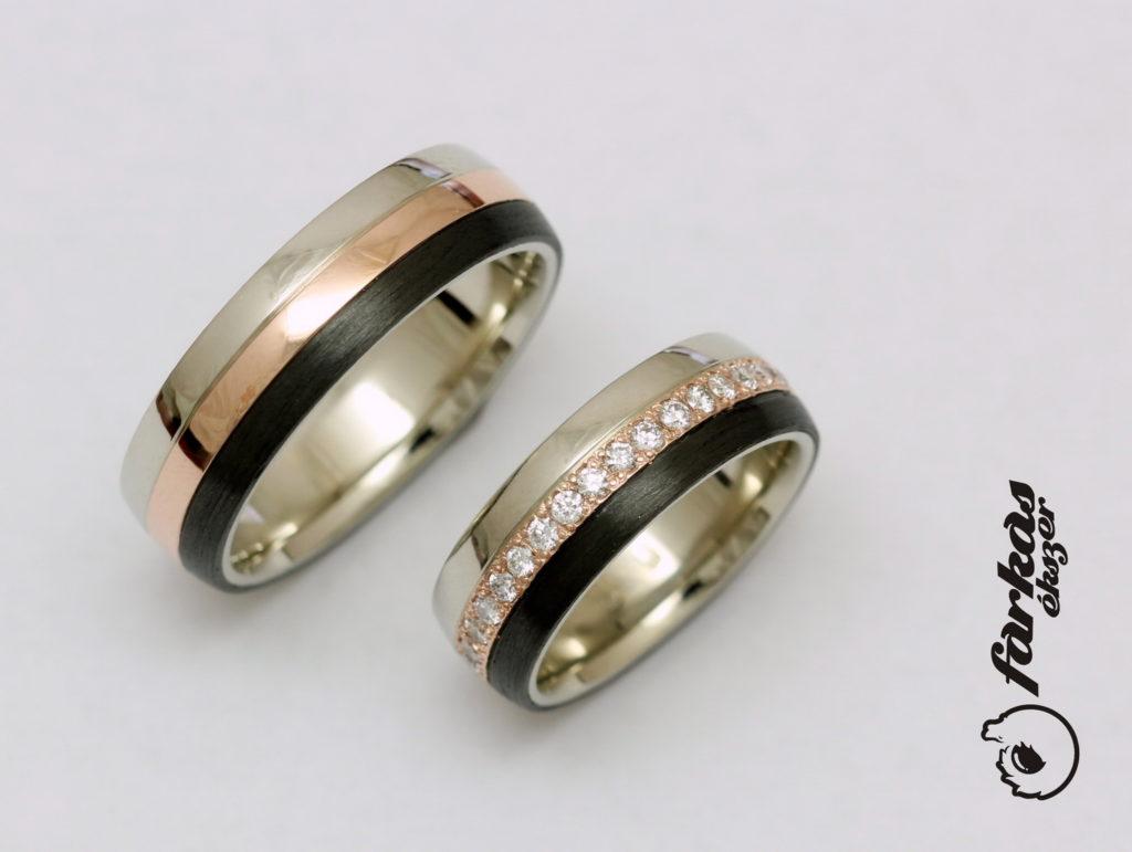 Arany-fekete karbon karikagyűrűk gyémántokkal k044.
