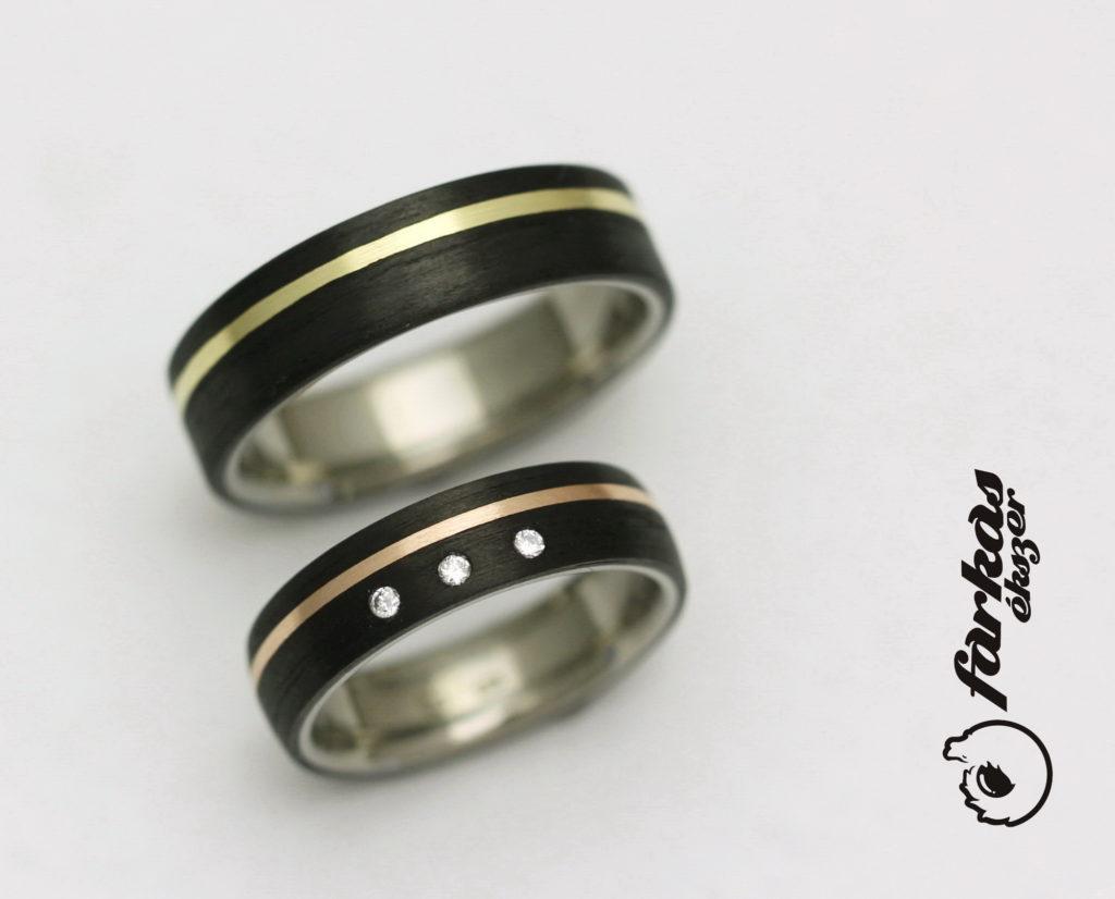 Fekete karbon-titán arany karikagyűrűk gyémántokkal 296.