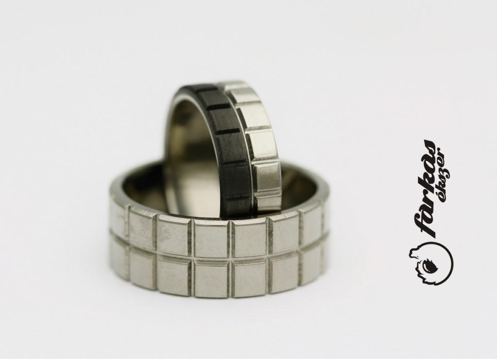 Fekete karbon - titán karikagyűrűk k046.