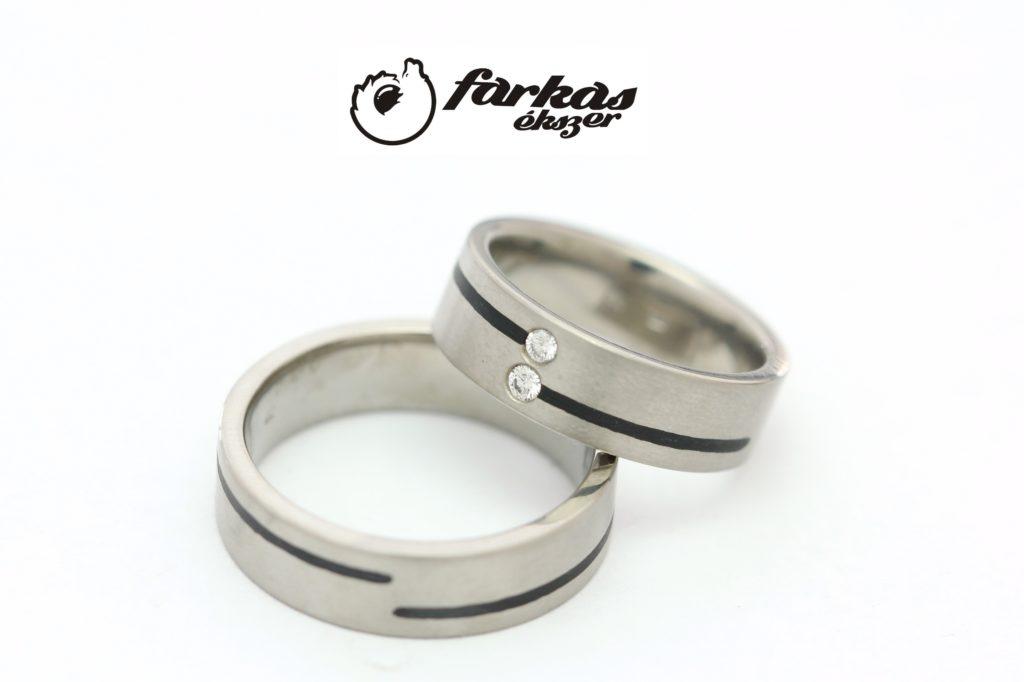 Titán - fekete kerámia karikagyűrűk gyémántokkal 298.