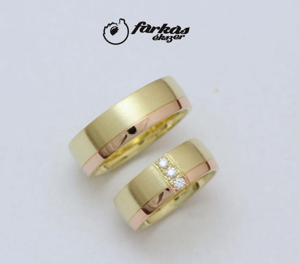 Sárga és vörös arany karikagyűrűk yémántokkal A0140.