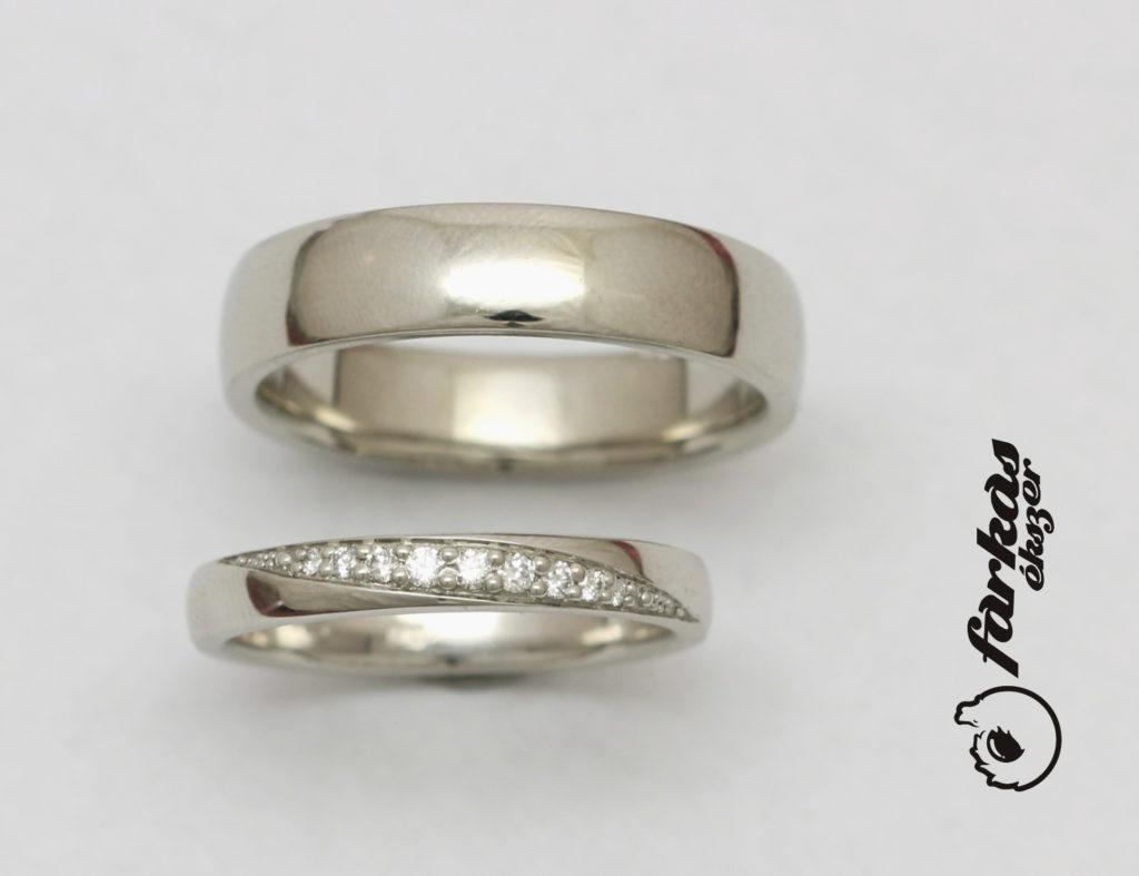 Platina karikagyűrűk gyémántokkal P057.