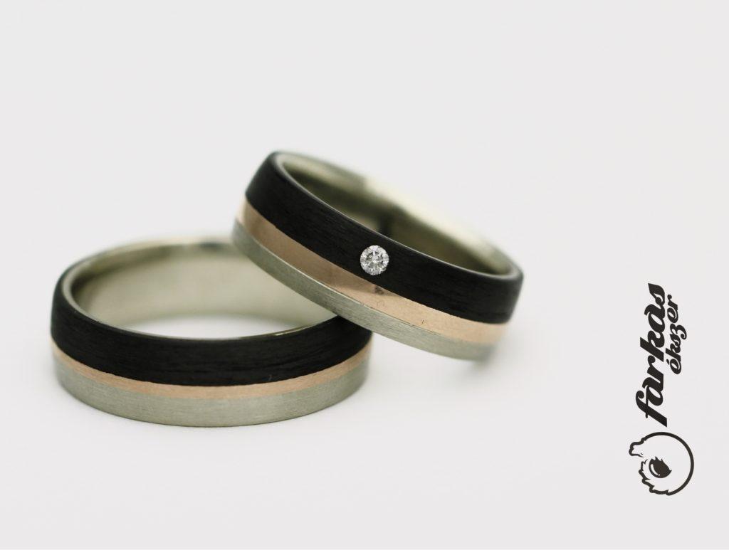 Fekete karbon-arany karikagyűrűk gyémánttal K047.
