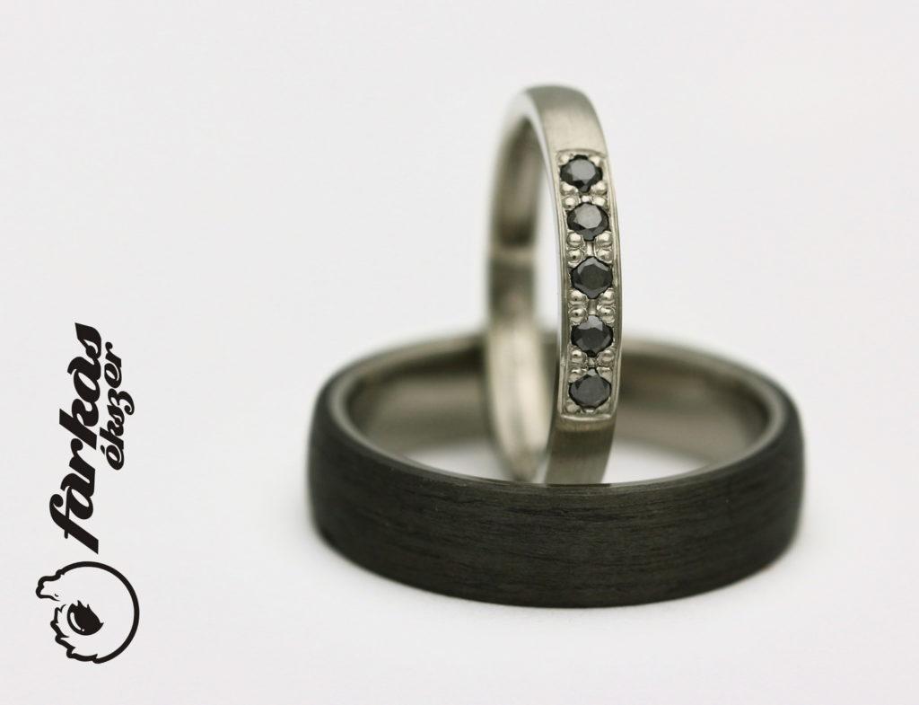 Titán-fekete karbon karikagyűrűk fekete gyémántokkal T304.