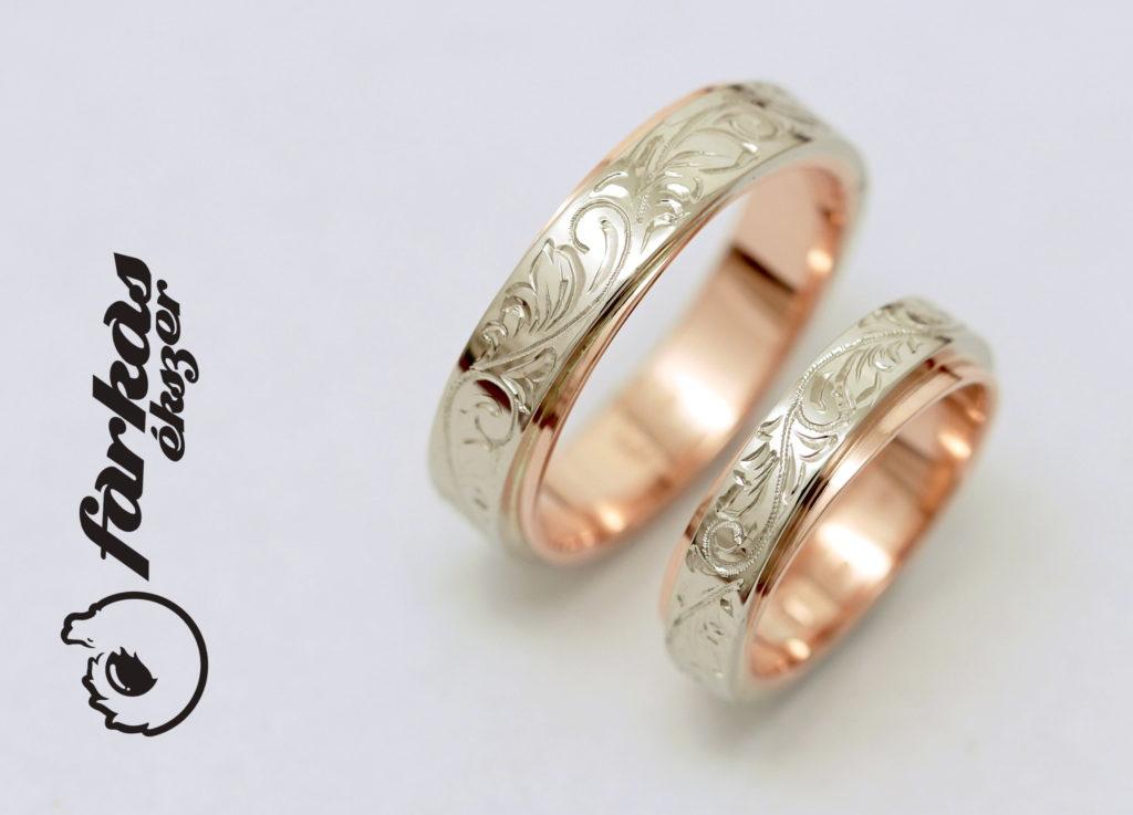 Vésett fehér és vörös arany karikagyűrűk A104.