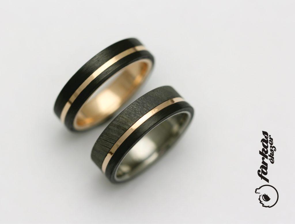 Arany-fekete karbon és damaszkuszi acél-karbon-arany-titán karikagyűrűk k051.