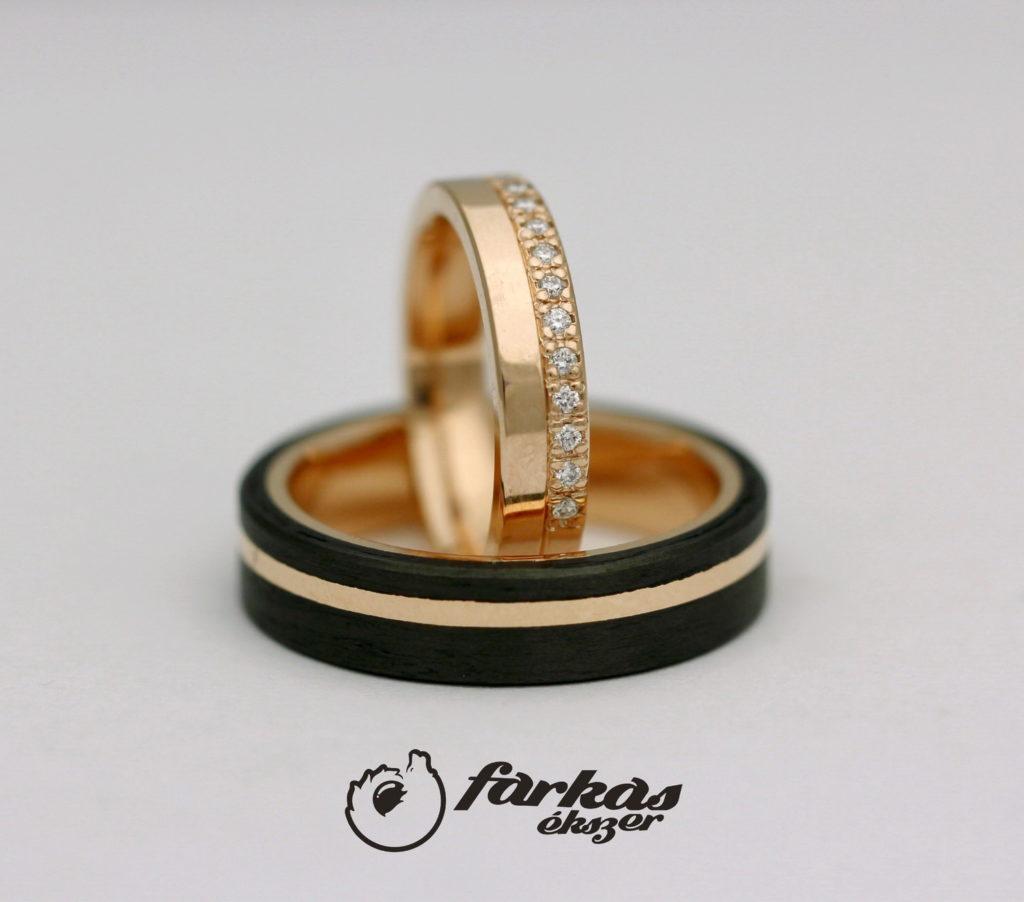 Arany-fekete karbon karikagyűrűk gyémántokkal A0141.