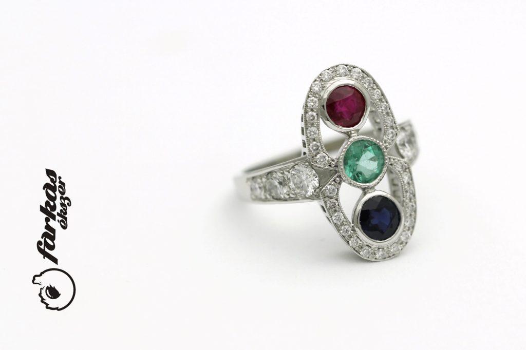 Platina gyűrű rubin, smaragd, zafír kövekkel és gyémántokkal P058.
