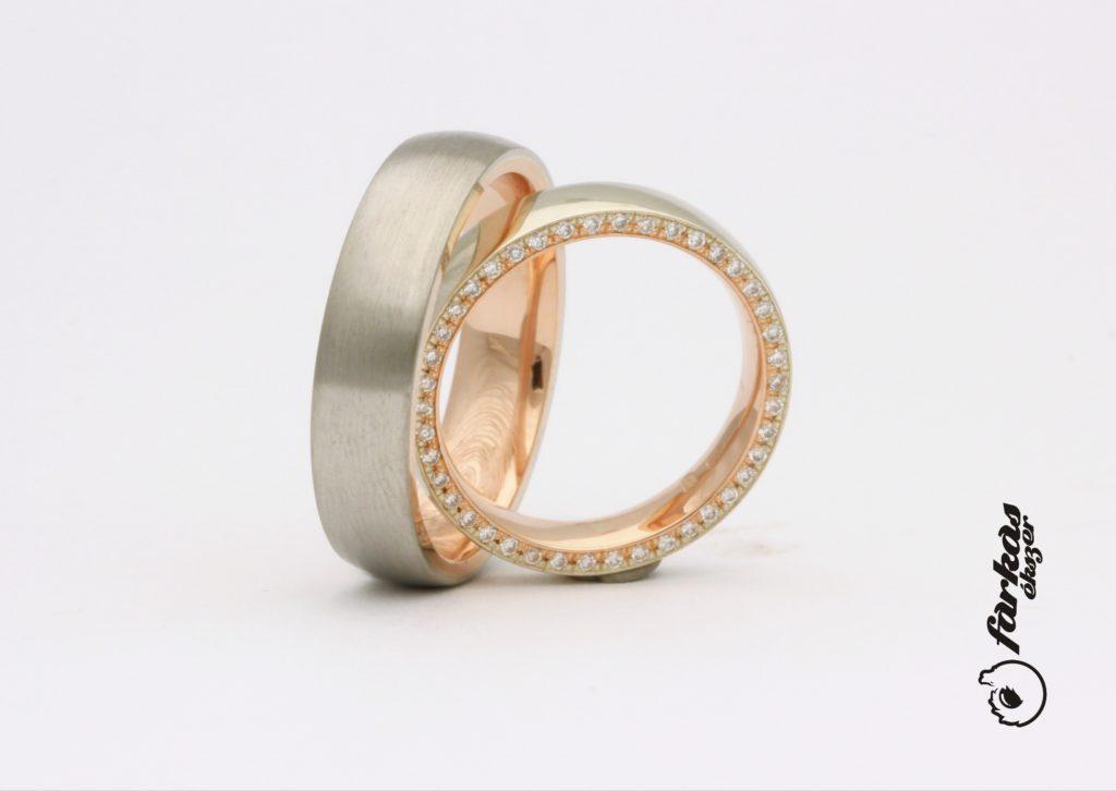 Fehér és vörös arany karikagyűrűk gyémántokkal A148.