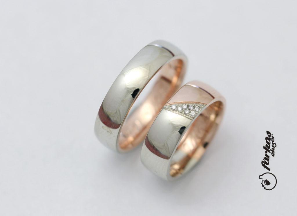 Fehér és vörös arany karikagyűrűk gyémántokkal A149.