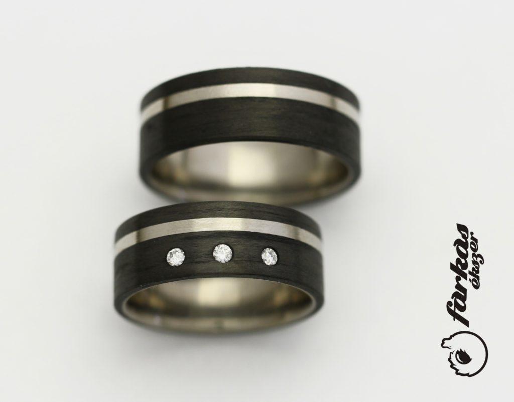 Fekete karbon - titán karikagyűrűk gyémántokkal K054.