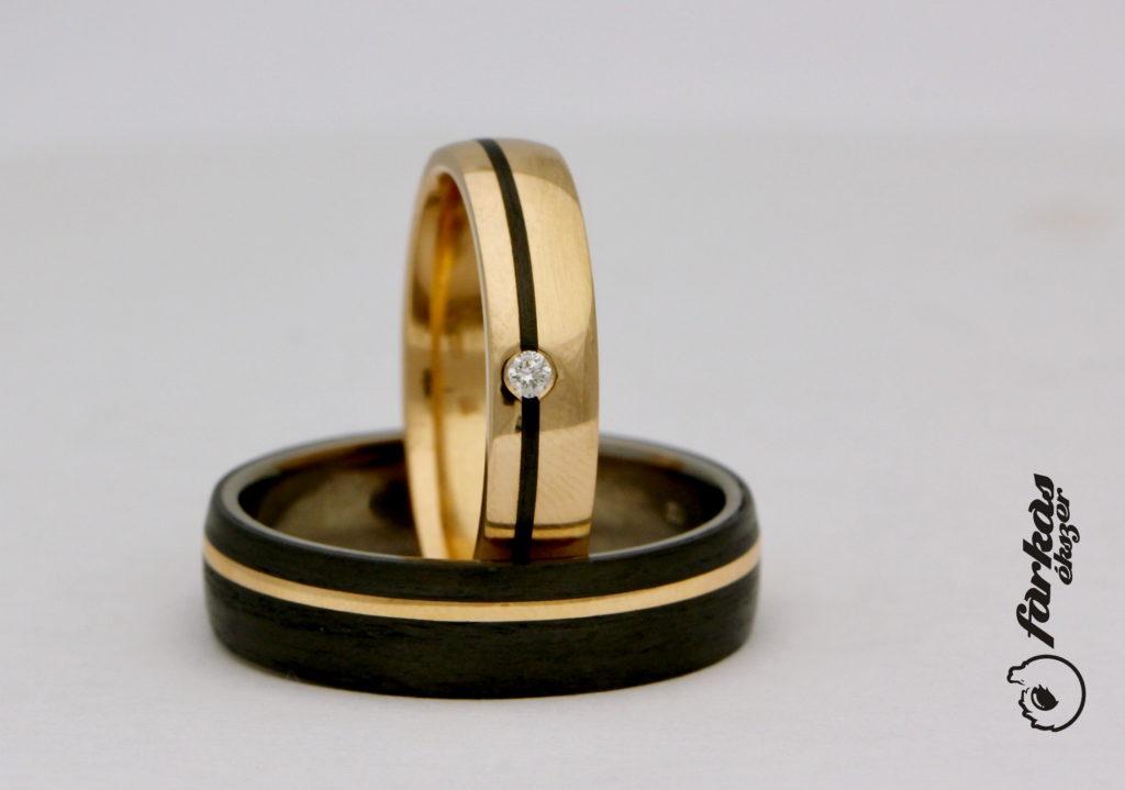 Vörösarany - karbon karikagyűrűk gyémánttal A150.