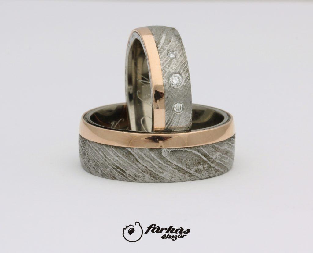 Damaszkuszi acél-arany-titán karikagyűrűk gyémántokkal T314.
