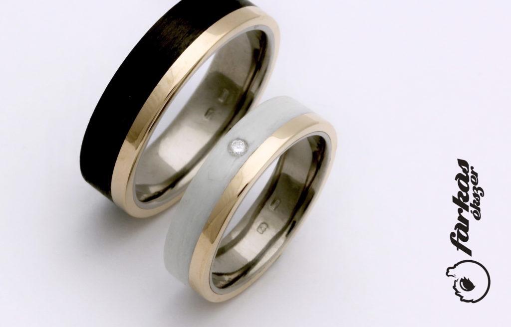 Fekete és fehér karbon-arany, belül titán karikagyűrűk gyémánttal K060.