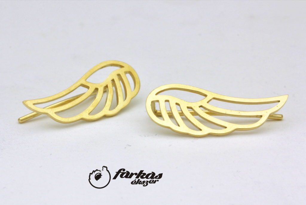 Sárga arany angyalszárny fülbevaló A154.