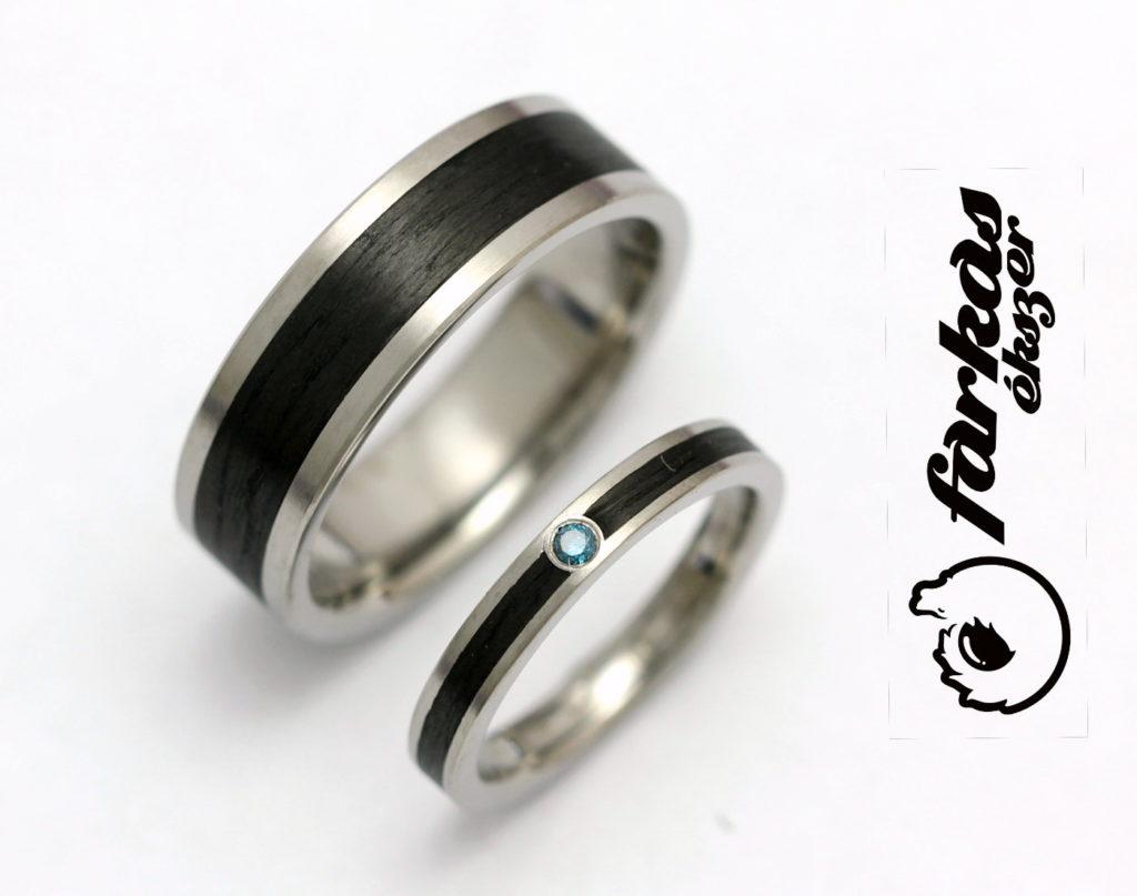 Titán-fekete karbon és titán-fekete kerámia karikagyűrű, kék gyémánttal T188.
