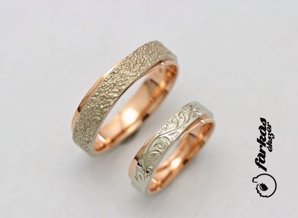 Vörös és fehér arany karikagyűrűk A156.