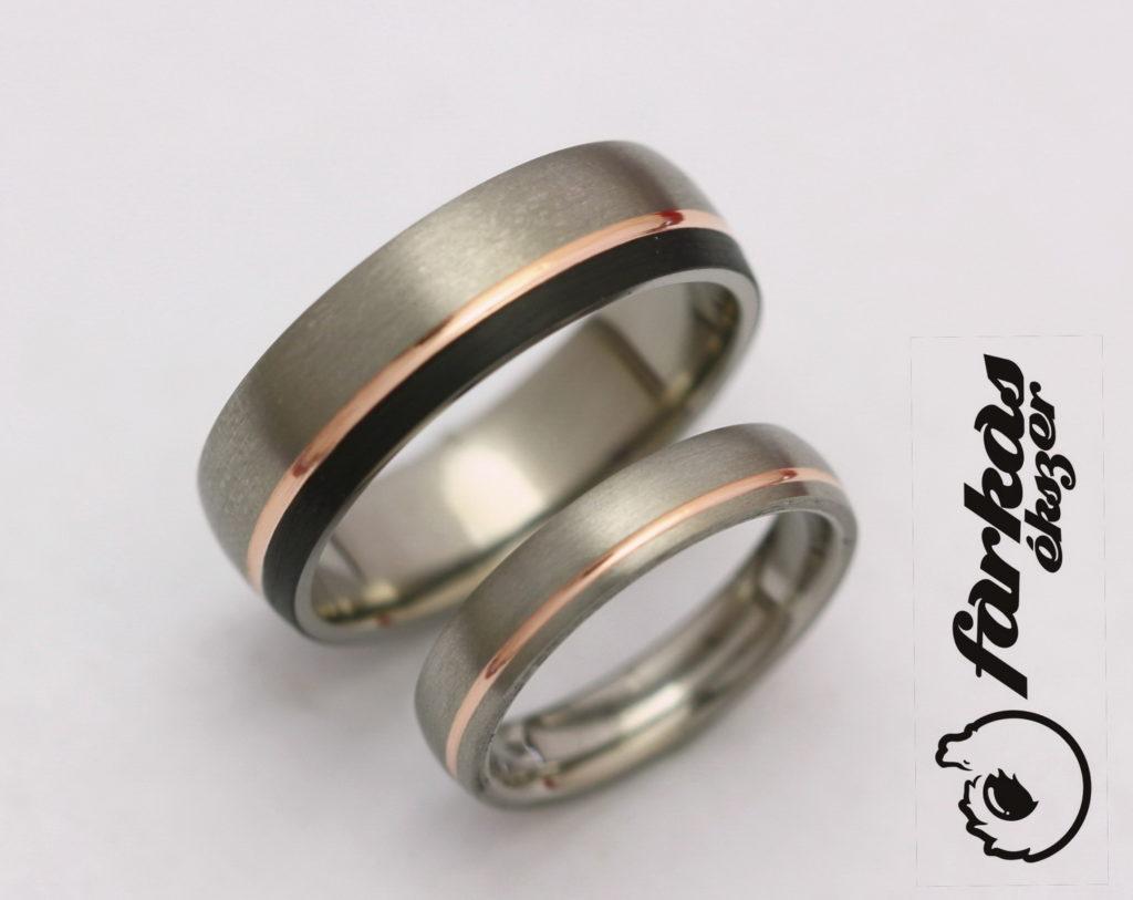 Fekete karbon-vörös arany-titán karikagyűrűk K020.