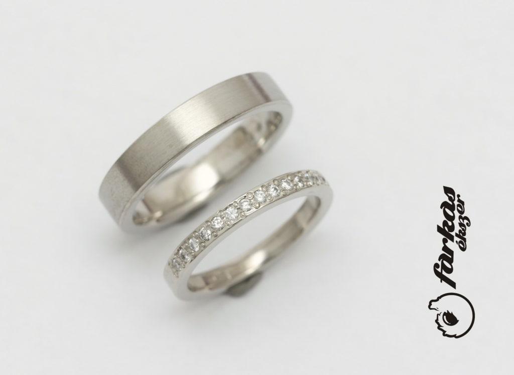 Platina karikagyűrűk gyémántokkal P060.