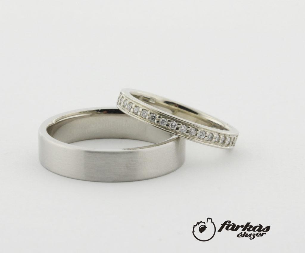 Fehér arany karikagyűrűk gyémántokkal A158.