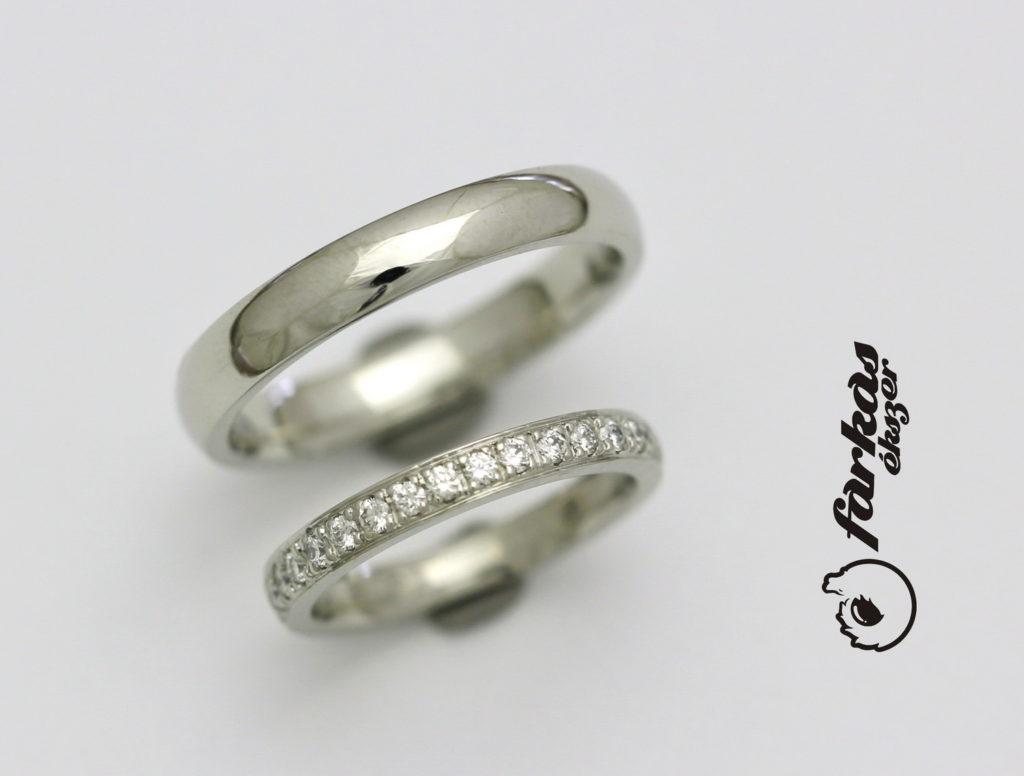 Platina karikagyűrűk gyémántokkal P061.
