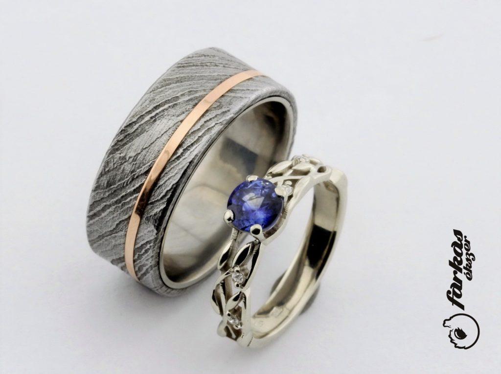 Fehér arany gyűrű zafírral és damaszkuszi acél-arany karikagyűrű A159.