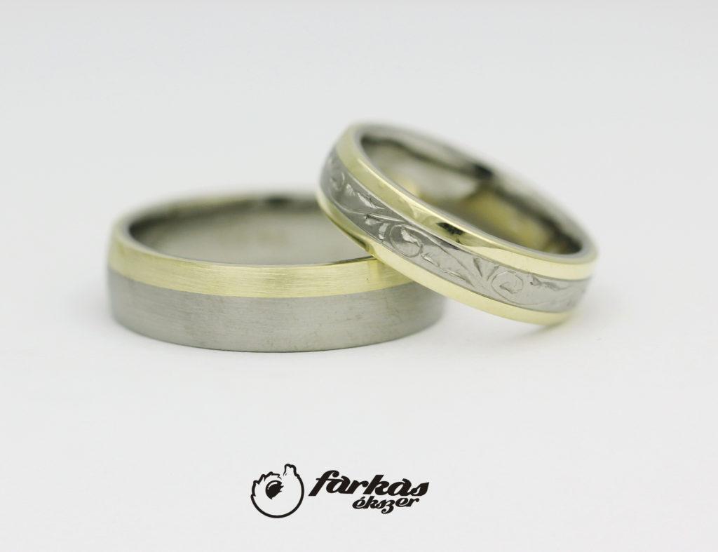 Vésett titán-arany karikagyűrűk T324.